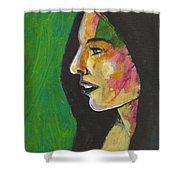 Woman With Black Lipstick Shower Curtain