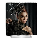 Woman With Black Metallic Headdress Shower Curtain
