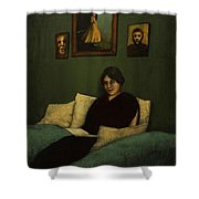 Woman With Book  Shower Curtain