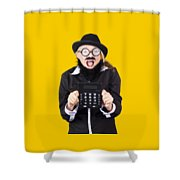 Woman With Electronic Calculator Shower Curtain