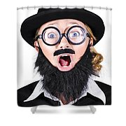 Woman With Fake Beard And Mustache Screaming Shower Curtain