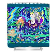 Woman With Fish Shower Curtain