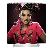 Woman With Floral Headdress In Pink Dress Shower Curtain