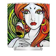 Woman With Glass Shower Curtain