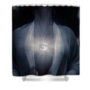 Woman With Glowing Full Moon Pendant On Her Chest Shower Curtain