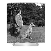 Woman With Great Dane, C.1920-30s Shower Curtain