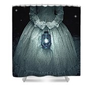 Woman With Lantern Shower Curtain