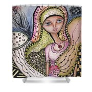 Woman With Large Eyes Shower Curtain by Prerna Poojara
