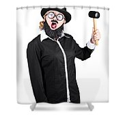 Woman With Male Costume Holding Mallet Shower Curtain