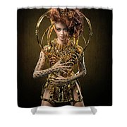 Woman With Messy Curl Updo In Golden Attire Shower Curtain