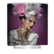Woman With Pink And White Headpiece In White Dress Shower Curtain