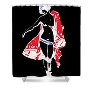 Woman With Red Cape - And Not Much Else Shower Curtain