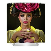 Woman With Red Flower Headdress Shower Curtain