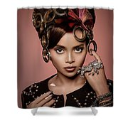 Woman With Ring Headdress And Bouffant Hairstyle Shower Curtain
