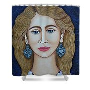 Woman With Silver Earrings Shower Curtain