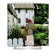 Woman With Striped Jacket And Flowered Skirt Shower Curtain