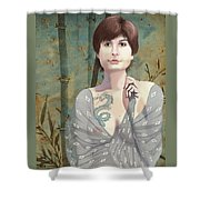 Woman With Tattoo Shower Curtain