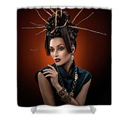 Woman With Twig Headdress And Oriental Look Shower Curtain