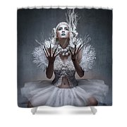 Woman With Twigs For Nails Shower Curtain