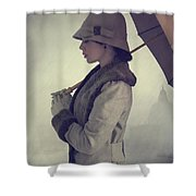 Woman With Vintage Cloche Hat Overcoat And Umbrella In Rain Shower Curtain