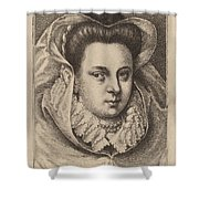Woman With White Veil And Black Hat (mary Stuart?) Shower Curtain
