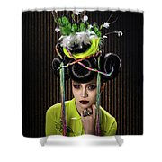 Woman With Yellow Dress With Feather And Leaf Headdress Shower Curtain