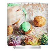 Woman's Hand Coating A Donut With Green Frosting. Shower Curtain