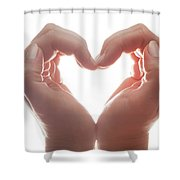 Woman's Hands Make A Heart Shape On White Background, Backlight. Love Shower Curtain