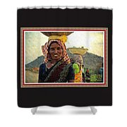 Women Carrying Goods On Their Heads H A With Decorative Ornate Printed Frame. Shower Curtain
