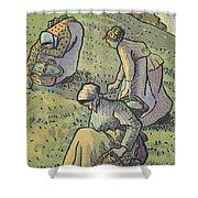 Women Gathering Mushrooms Shower Curtain
