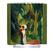 Women In A Park With A White Parasol Shower Curtain