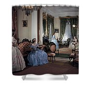 Women In Period Costumes Sit In An Shower Curtain