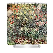 Women In The Flowers Shower Curtain by Claude Monet