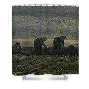 Women On The Peat Moor Nieuw Amsterdam, October 1883 Vincent Van Gogh 1853 - 1890 Shower Curtain