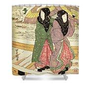 Women Walking Over A Bridge In Snow Shower Curtain