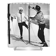 Women Waxing Skis Shower Curtain