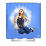 Womens Fashion Pinup Model On Blue Studio Lights Shower Curtain