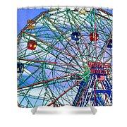 Wonder Wheel Amusement Park 3 Shower Curtain