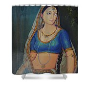 Wonderful Portrait A Lonely Queen Is Waiting For Her Husband To Return From Battle Oil Painting  Shower Curtain