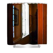 Wood And Glass Door Shower Curtain