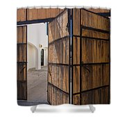 Wood And Iron Bi-fold Gate Shower Curtain