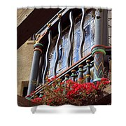 Wood Beams Red Flowers And Blue Window Shower Curtain