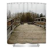 Wood Boardwalk At Valens Shower Curtain