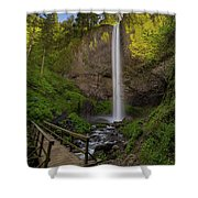 Wood Bridge At Latourell Falls Shower Curtain