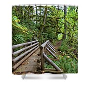 Wood Bridge Over Butte Creek Shower Curtain