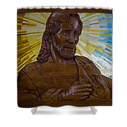 Wood Carving Of Jesus Shower Curtain