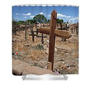 Wood Crosses In Taos Cemetery Shower Curtain