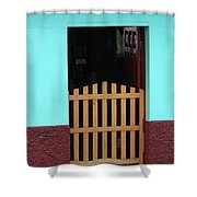Wood Gate In A Door Shower Curtain