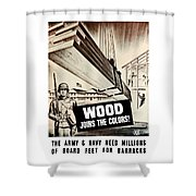 Wood Joins The Colors - Ww2 Shower Curtain