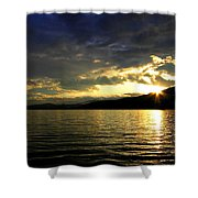 Wood Lake Sunburst Shower Curtain